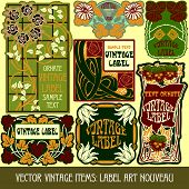 Vector vintage items: label art nouveau, illustration poster