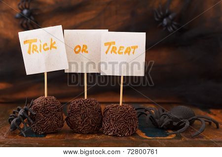 Halloween Sweets Brazilian Brigadeiro, Chocolate Candy, Spider