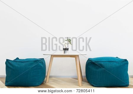 Interior Modern  Design Chair And Tree On Table
