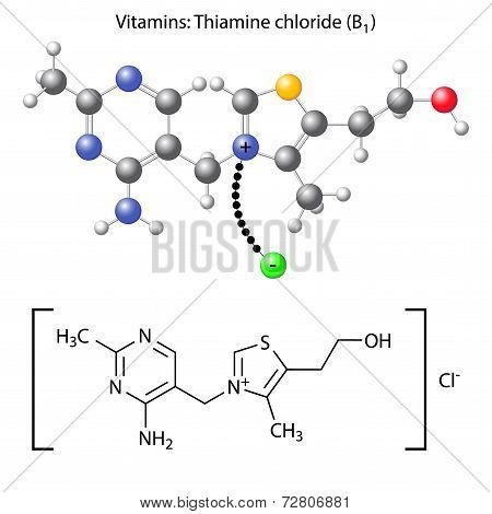 Thiamine Chloride Molecule - Vitamin B1