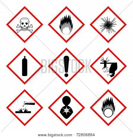 Warning Labels Of Chemicals - Icon Set