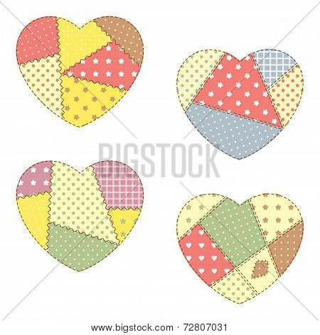 Set of cute hearts in patchwork style poster
