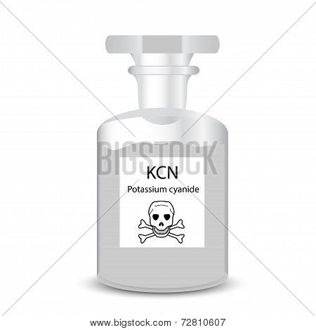 Chemical Container With Toxic Substance Granular Potassium Cyanide