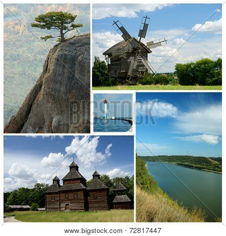 Collage Of Ukrainian Cultural And Nature Landmarks - Medieval Wooden Churches,crimea Mountains,