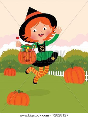 Girl In Witch Costume Celebrates Halloween