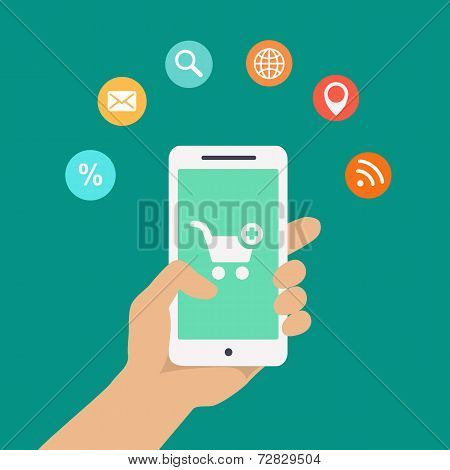 Smartphone apps infographics with a hand holding a phone with  icons for shopping