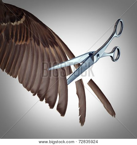 Losing freedom concept as a restriction metaphor to clip the wings of somebody with the feathers of a bird wing being cut by scissors as a symbol of limits and creative limitations imposed by others as a loss in opportunity. poster