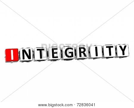 3D Word Integrity On White Background