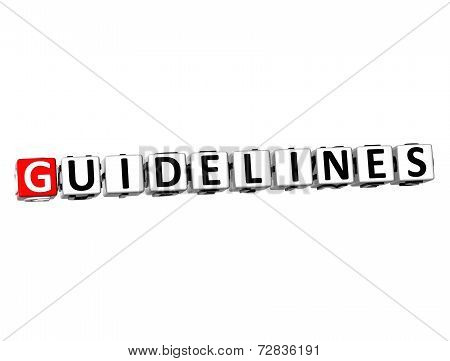 3D Word Guidelines On White Background