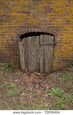 Wooden door cracked open