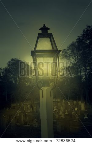 Lamp lighting graveyard