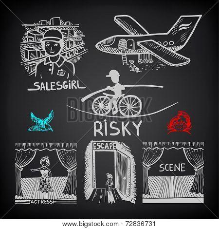 doodle sketch ink drawing of risky, salesgirl, scene, actress, e