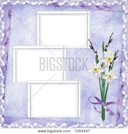 Card For Invitation Or Congratulation With Flowers On The Abstract Background