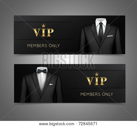 Businessman suit vip cards horizontal banners