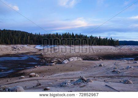 Drained Reservoir in Sierra Nevada, California