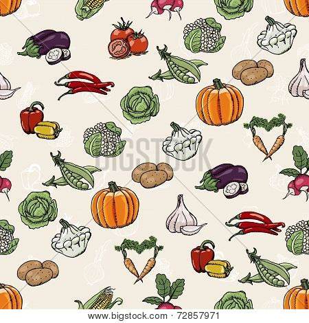 Seamless Diagonal Pattern With Colored Vegetables. Vector Illustrations