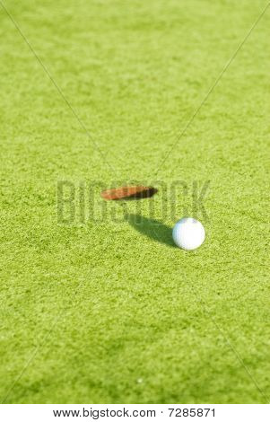 Closeup Of A Ball On A Golf Course