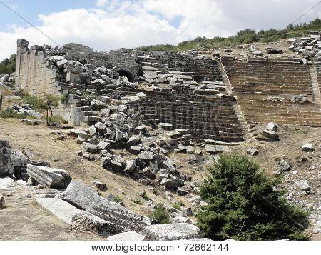 Part  of the amphitheater of Kibyra.