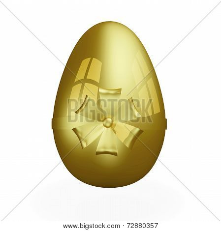 Gold Egg With Golden Bow And Ribbon