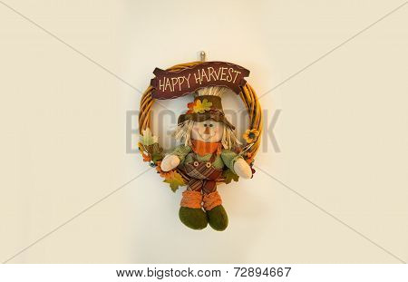 Happy Harvest Scarecrow Fall Wreath