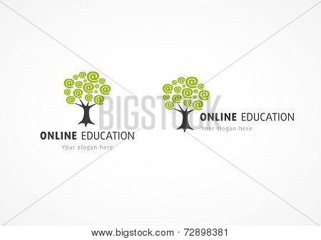 Online education logo network tree with e-mail arroba at branches symbol. Internet school, college, chat discussion or web training vector sign. Global communication icon.