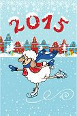 Greeting card.2015 Year of Sheep. Vector Cartoon sheep skate in the city.Winter landscape with fabulous homes. Figures 2015 with snow.Illustration poster
