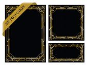 a set of three art deco gatsby backgrounds poster