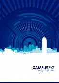 artwork for a brochure cityscape with swirling line poster
