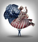 American republican vote election leadership symbol as an elephant with a painted flag of the United States with a person lifting up the animal as an icon of the conservative values in a voting campaign for president senator or congressman. poster