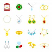 Jewelry flat icons set of diamond gold fashion expensive accessories isolated vector illustration poster