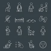 Disabled people outline icons set of wheelchair blind deaf man isolated vector illustration poster