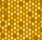 Seamless honeycomb pattern in warm colors. Easy editable poster