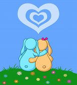 Valentine cartoon, rabbits lovers on flower meadow under cloudy heart. Vector poster