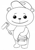 Cartoon toy bear worker house painter with a tool and a bucket of paint, black contours isolated on white background. Vector poster
