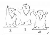 Sports cartoon, teddy bears sportsmans stand on a podium, contours. Vector poster
