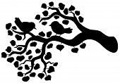Silhouette of branch with birds - vector illustration. poster