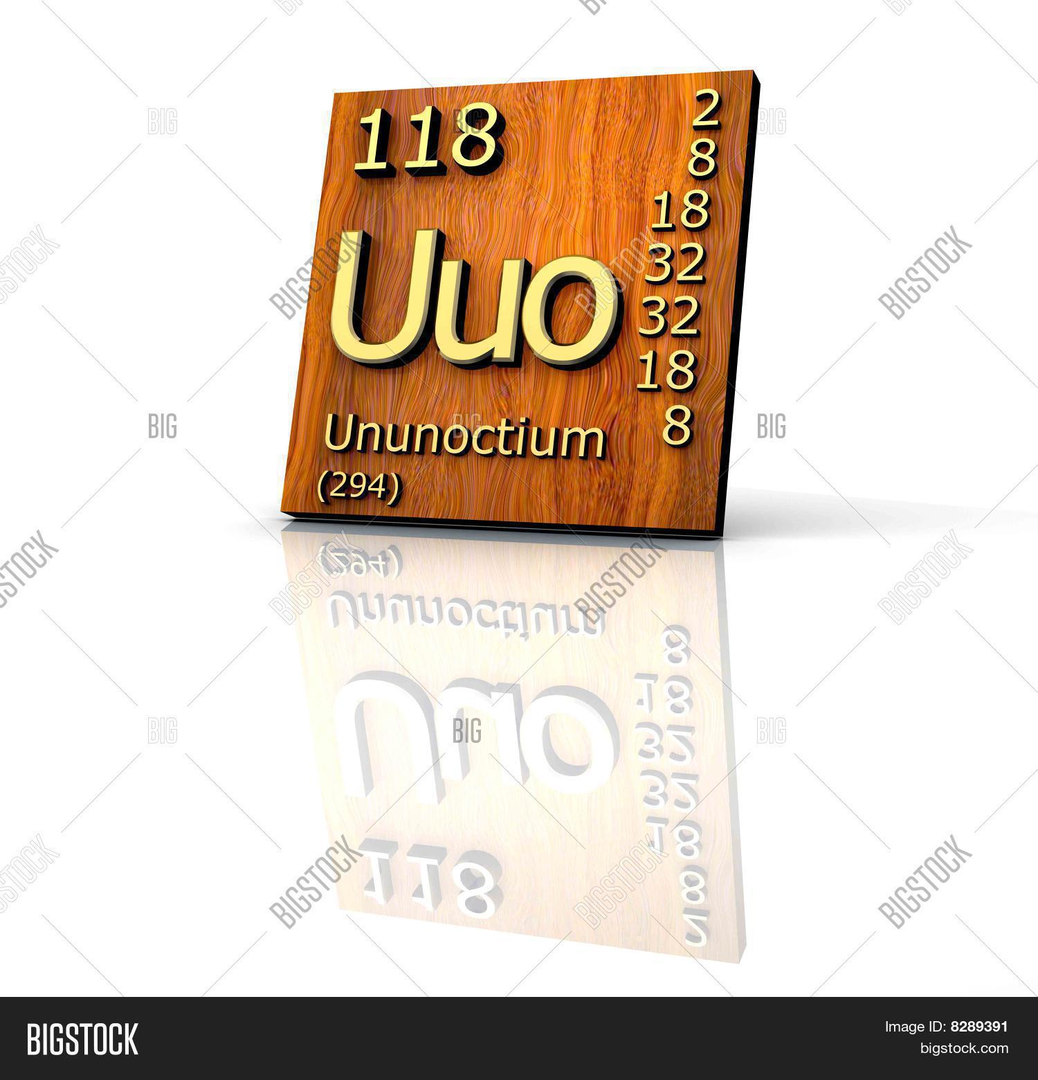 Ununoctium periodic table elements image photo bigstock ununoctium from periodic table of elements wood board urtaz Images