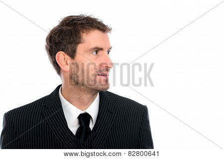 Businessman In Front Of White Background