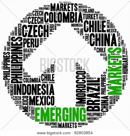 Emerging Markets. Word Cloud Illustration.
