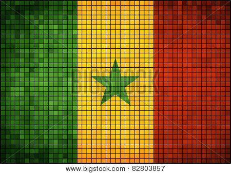 Abstract mosaic flag of Senegal