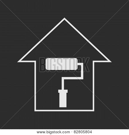 House With Paddle Roller. White On Dark Grey