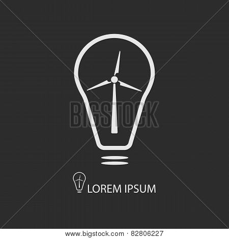 White Bulb With Wind Turbine On Dark Grey