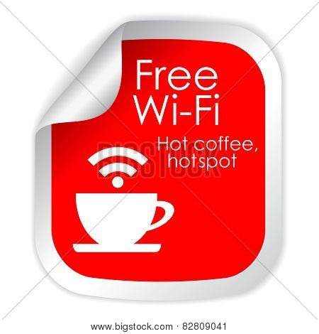 Free wi-fi cafe symbol isolated on white background poster