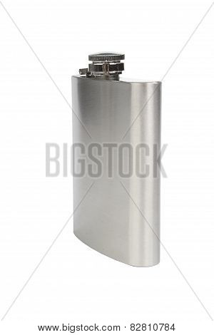 Stainles Steel Flask Isolated On White Background
