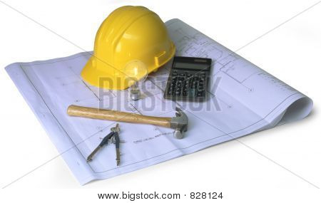 blueprints, hard hat, calculator, hammer, calipher, on white background poster
