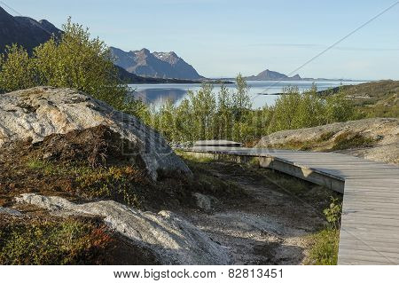 Wooden Path On Mountain At Seaside