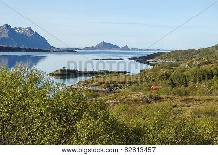 View to fjord in Norway, Lofoten