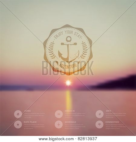 Vector Ocean, Blurred Landscape, Interface Template. Corporate W