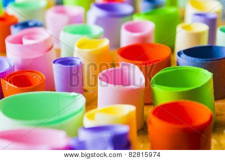 Colorful Rolled Up Pieces Of Paper Detail Photo