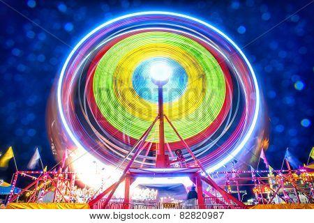 Ferris Wheel Light Motion At Night